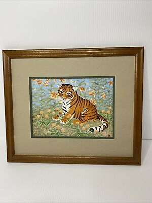 """VNTG 82' Clarence Wilson PAINTING ON PORCELAIN: TIGER CUB """"THE ENCHANTED GARDEN"""""""