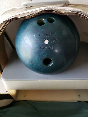LOT VINTAGE COLUMBIA 300 WHITE DOT BOWLING BALL Green 13 1/2 lbs with case & sho Green Dot Ball