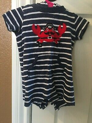 Boy Carter's Blue White Striped Crab Hooded One Piece Body Suit Size 6 Months Carters Striped Body