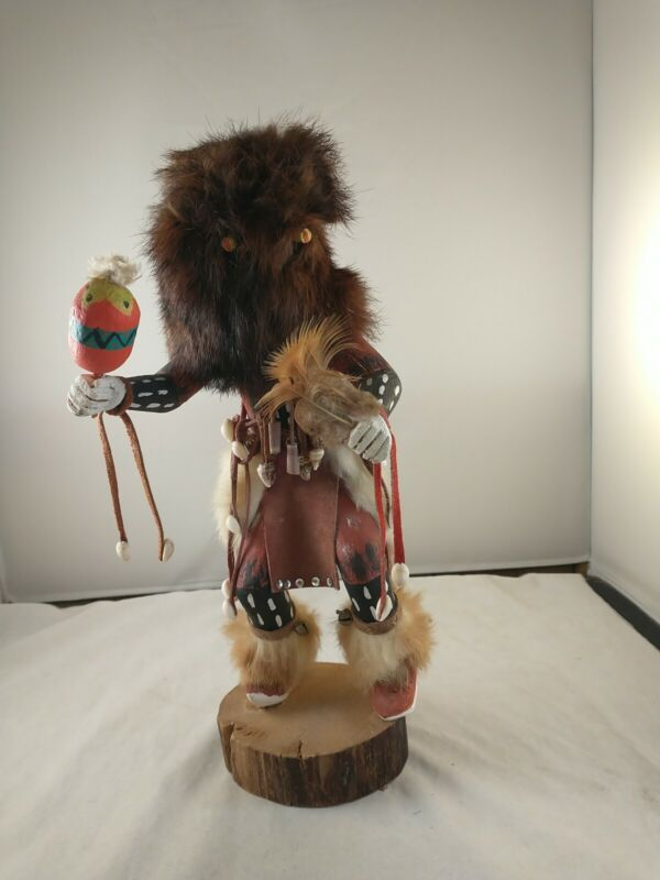 """Vtg 14"""" HOPI NATIVE AMERICAN INDIAN CARVED """"BEAR DANCER"""" KACHINA Doll *a-top"""