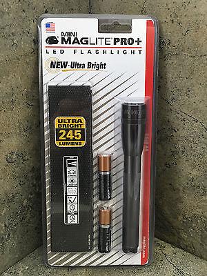 New Mini Maglite PRO+ LED Flashlight 2 AA Gray SP+P09H - 245 Lumens High / Low