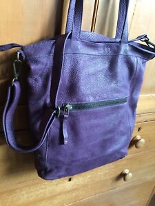 Large Roots Eggplant Tote Purse