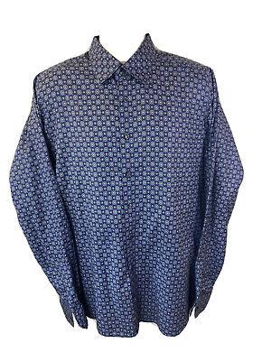 Eton Contemporary Mens XL 44 17.5 Long Sleeve Button Front Blue Dress Shirt