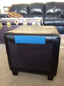 """18"""" square black faux leather cube with legs"""
