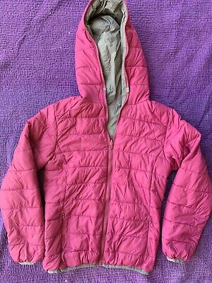 $208 Save the Duck Girl's Hooded Ultra Light Reversible Puffer Jacket Sz 10 Pink