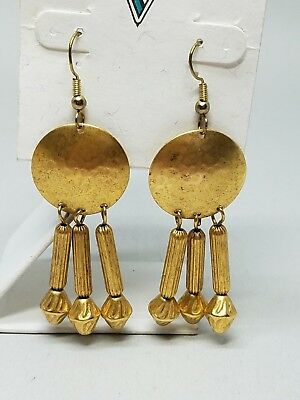 Gold Tone Dangle Pierced Earrings Fish Hook Vintage