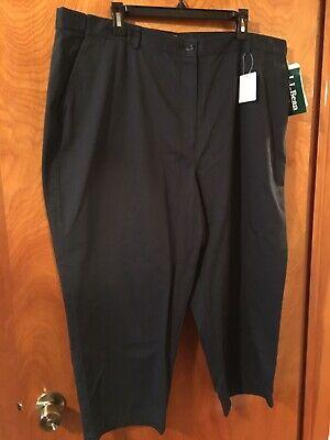 Plain Front Hose (NEW NWT LL Bean 22W Navy Blue Original Fit Cotton Crop Capri Pants Plain Front )