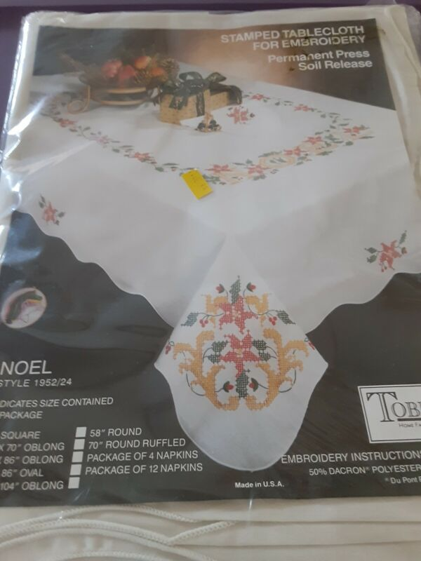 Tobin Stamped for Embroidery Tablecloth  Noel 50x70 sealed pkg