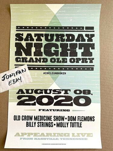 OCMS Billy Strings Grand Ole Opry Nashville TN Aug 8 2020 HATCH Poster IN STOCK