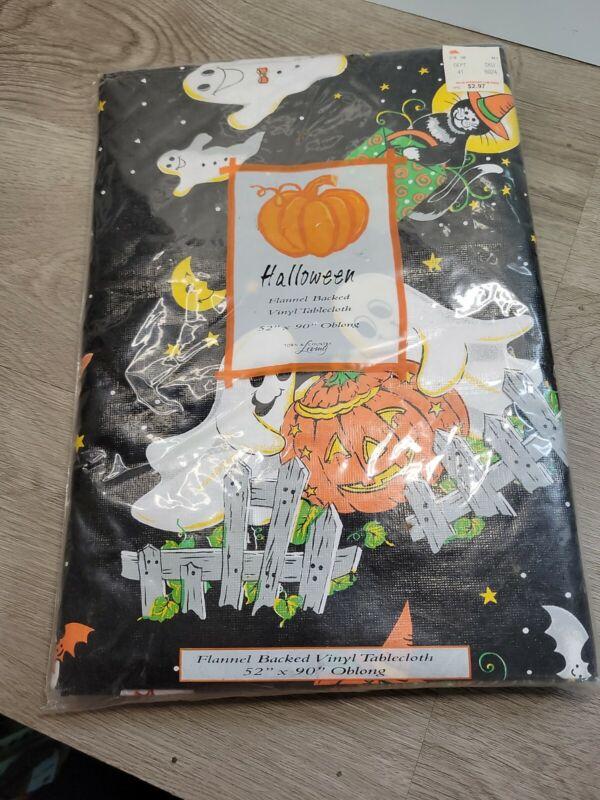 """NOS 80s VTG 52X90"""" Oblong Tablecloth Halloween Flannel Back Vinyl Black Ghosts"""