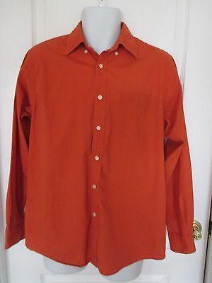 Nautica Mens Size M Orange Full Button Down Dress Shirt