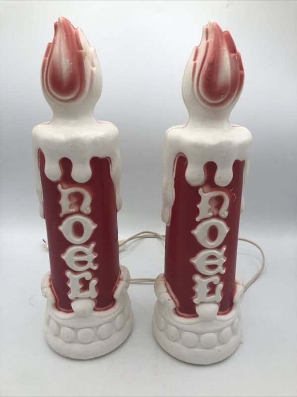 """Set Of 2 """"Noel"""" Empire Candle Light-Up Blow Molds 13.5"""" 1970 *FREE SHIPPING*"""