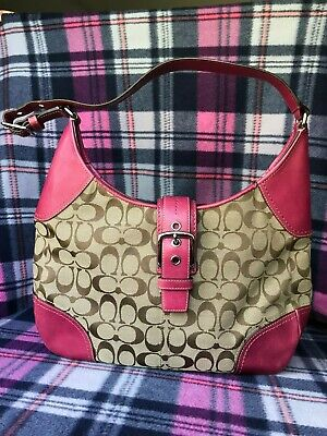 Buckle Flap Bag (COACH  F12640 SMALL SHOULDER/Flap Hobo Bag Pur Signature Buckle Pink leather .)