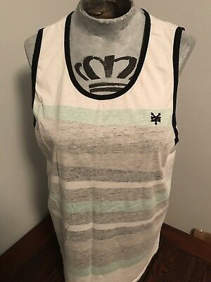 Zoo York Mens Muscle Tank Top Green Gray White Size XXL