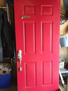 Exterior Metal Door with Handle, Lock and Key