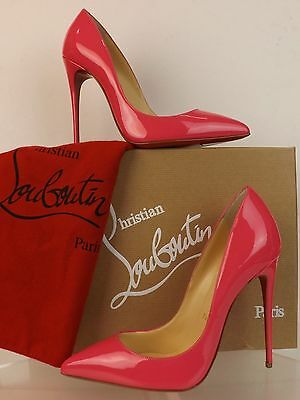 NIB LOUBOUTIN PIGALLE FOLLIES 120 PINK PINKY PATENT LEATHER CLASSIC PUMPS 37.5