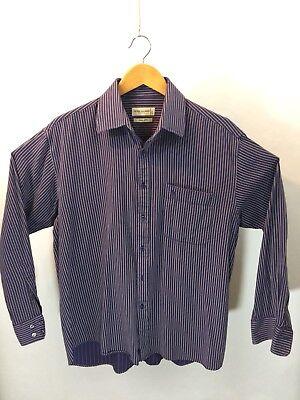 Legit Pierre Balmain Paris Men's Striped Long Sleeve L/S Shirt Size 17 Purple