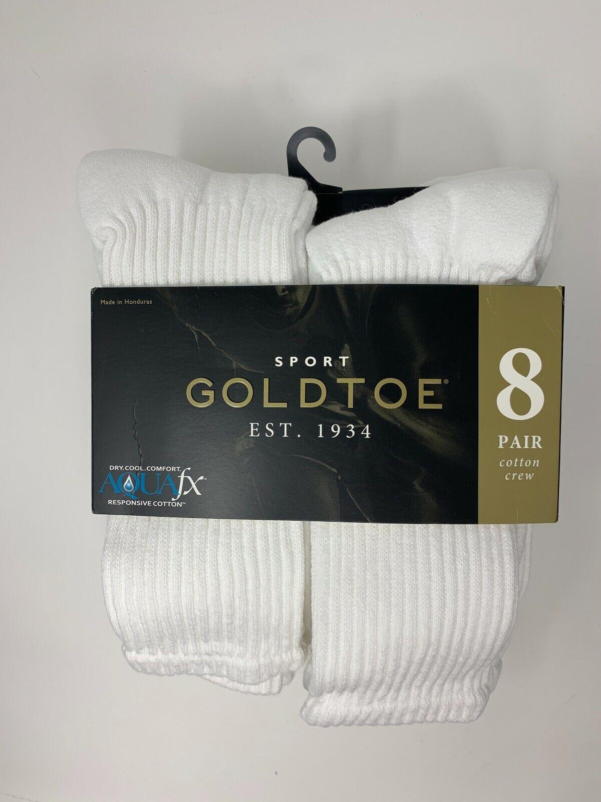GOLD TOE Men's 8 pack Soft Cotton Standard Crew Socks, White