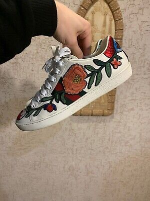 RRP $830 GUCCI ACE FLORAL Embroidered Sneakers EU38.5 UK5.5  Made in Italy