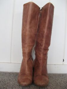 267e43842cd Ugg Tall Side Zip Up Brown Leather High Heel Boots Women s Size 7