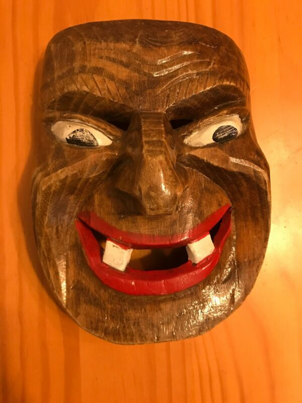 "Handmade Wood Mask 7.5"" X 6"" Grest Carving Smiling W Two Teeth"