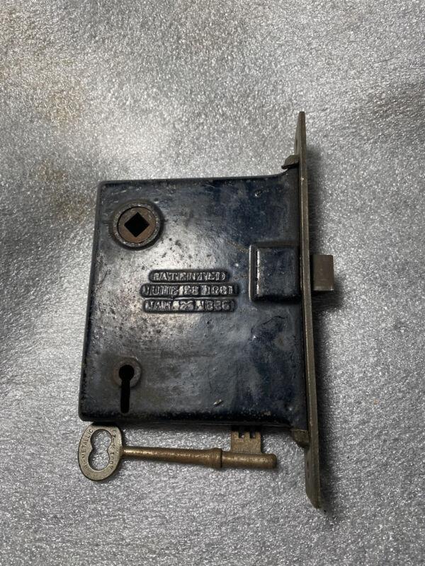 Antique Mortise  Sargent   Door Lock w/ Key Patented June 26/1881
