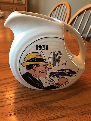 HLCCA Fiesta Homer Laughlin Dick Tracy 1931 Juice Pitcher White