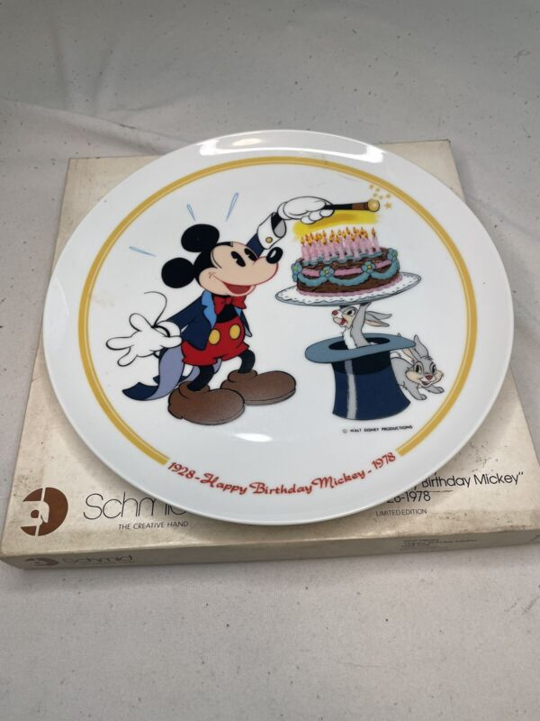 Vintage Disney Happy 50th Birthday Mickey Mouse Collector Plate Schmid  1978
