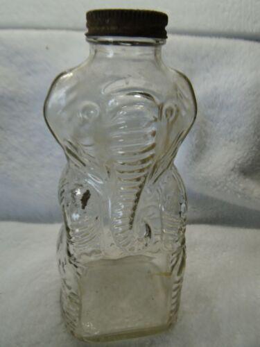 VINTAGE 19050s GRAPETTE CLEAR ELEPHANT PIGGY BANK BOTTLE