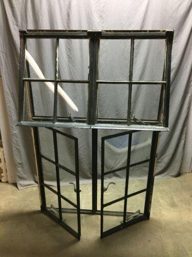 Antique Double 6 Lite Casement Steel Industrial Window 39x61 VTG Tudor 1235-20B