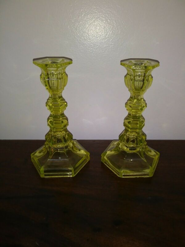 Boston Sandwich Glass Candlesticks Canary Yellow c. 19th Century