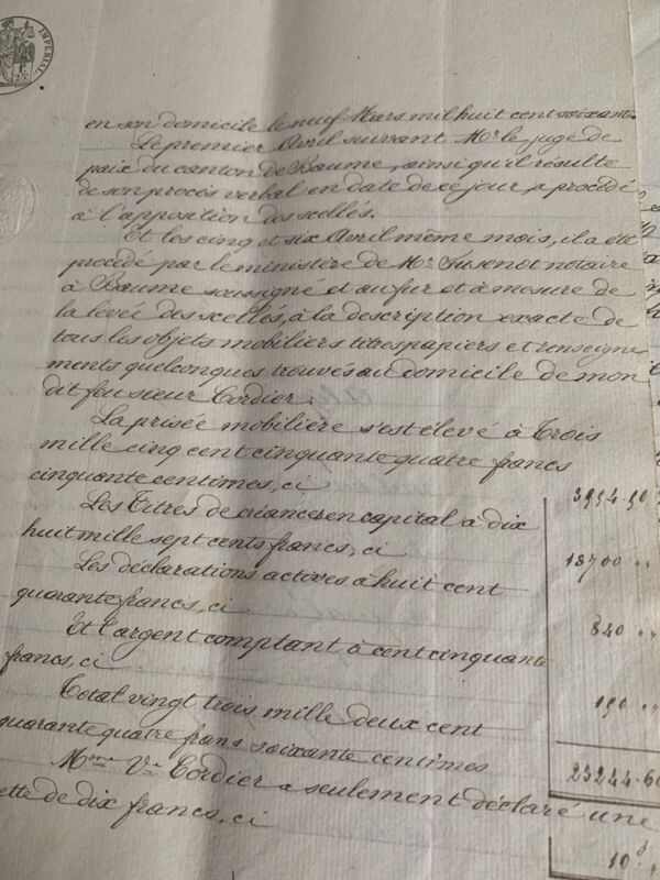 Vintage French Handwritten Lease 1861 Gorgeous Calligraphy & Graphics!
