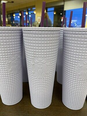 Starbucks Winter 2021 Release Lilac Grid 24oz Cold Cup