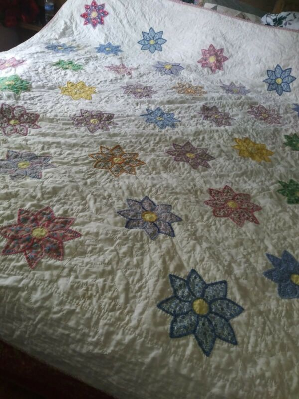 """Stunning Vintage Floral Stars Applique Light Quilt/Bed Cover Queen Size 84 x 84"""""""
