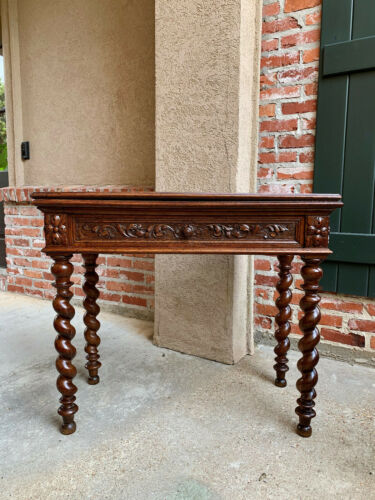 Antique French Carved Oak Game Hall Table Barley Twist Renaissance Louis XIII