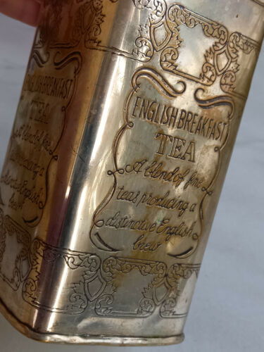 """Vintage """"English Breakfast Tea"""", Silver Plated Square Canister, Engraved"""