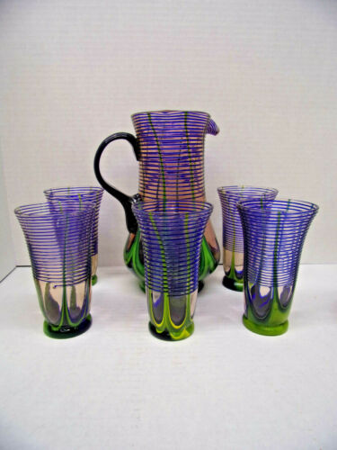 Beautiful 1920s Pulled Feather Threaded Art Glass Water Set