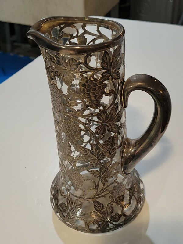 """Antique Fine .999 Silver ALVIN 9"""" Overlay Glass Water Pitcher Grapevine - AS IS"""