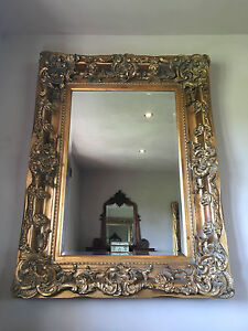 ANTIQUE GOLD ROCOCO ORNATE LARGE FRENCH OVERMANTLE WALL CHUNKY WOOD MIRROR 4FT