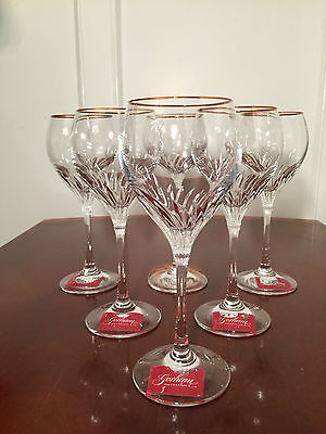 """New w/ tags Set of 6 GORHAM Romantique Gold-Trimmed 8"""" Crystal Wine Glasses"""
