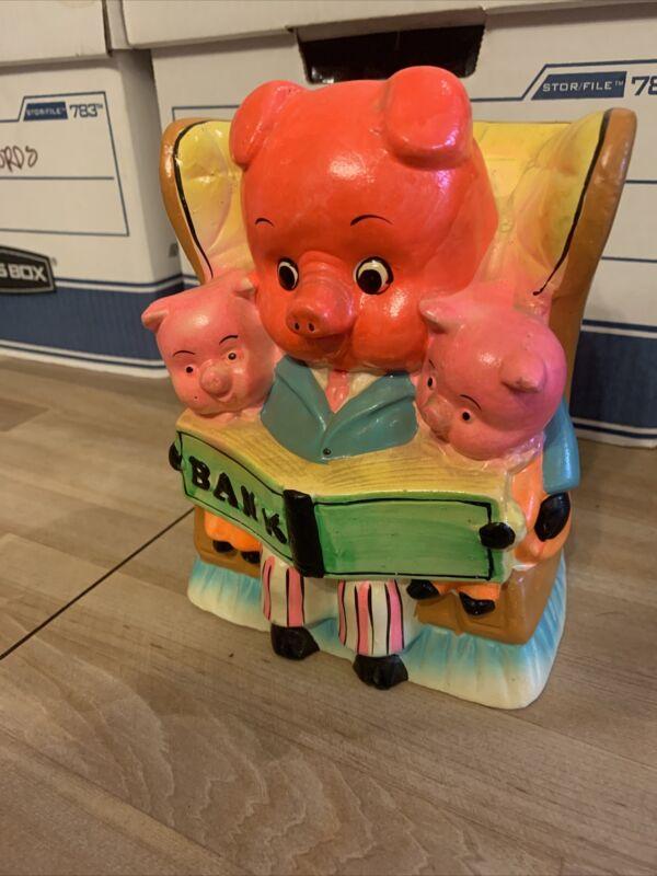 Vintage Japan Adorable 3 Little Pigs Piggy Bank