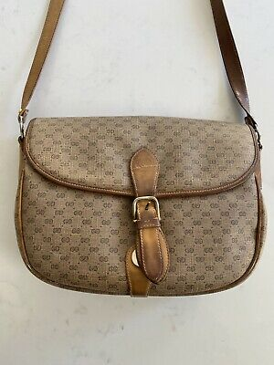 Vintage Gucci Micro GG Canvas Beige Leather Crossbody Hand Bag Authentic