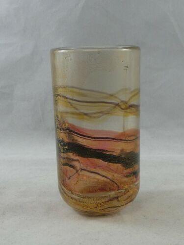 Lovely Gozo Glass Vase Gold foil Signed
