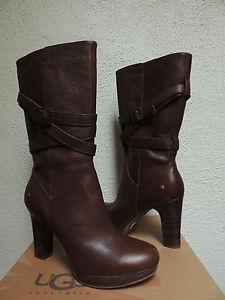 ugg jardin chestnut leather harness high heel boots us 10