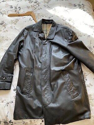 BURBERRY mens black leather jacket size xl