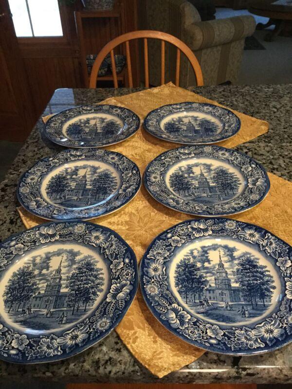 Set Of 6 VINTAGE BLUE INDEPENDENCE HALL STAFFORDSHIRE DINNER PLATES
