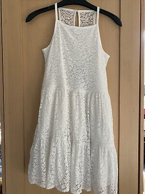 girls abercrombie and fitch kids white lace dress summer age 9-10 11...