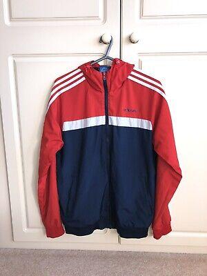 Navy/ Red Retro Adidas Windbreaker Track Jacket (Medium)