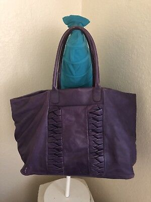 Falorni Italia Le Borse Soft Purple Leather Tote Shoulder Handbag