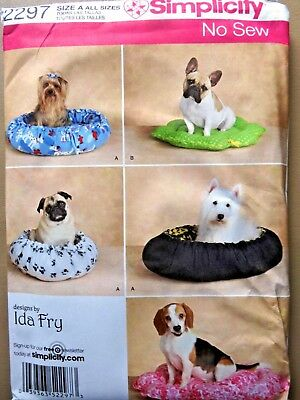 OOP SIMPLICITY SEWING PATTERN 2297 CRAFT FLEECE NO SEW DOG BED IN 2 STYLES UNCUT